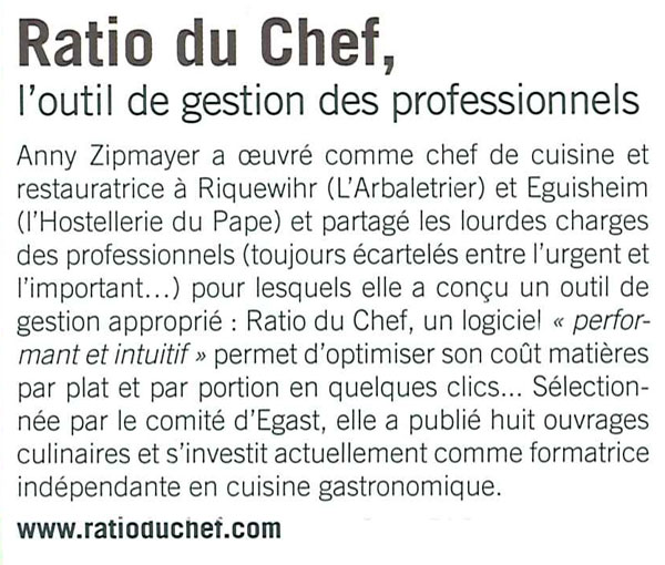 Article Ratio du chef